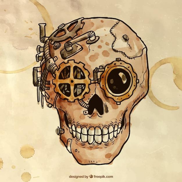 Cráneo steampunk pintado a mano Vector Premium