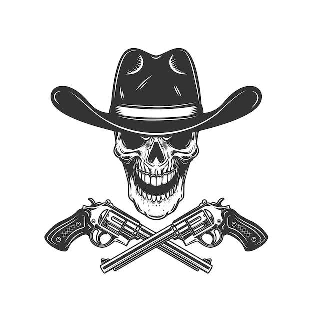 Cráneo de vaquero con revólveres cruzados. elemento de diseño de cartel, tarjeta, etiqueta, letrero, tarjeta, banner. imagen Vector Premium