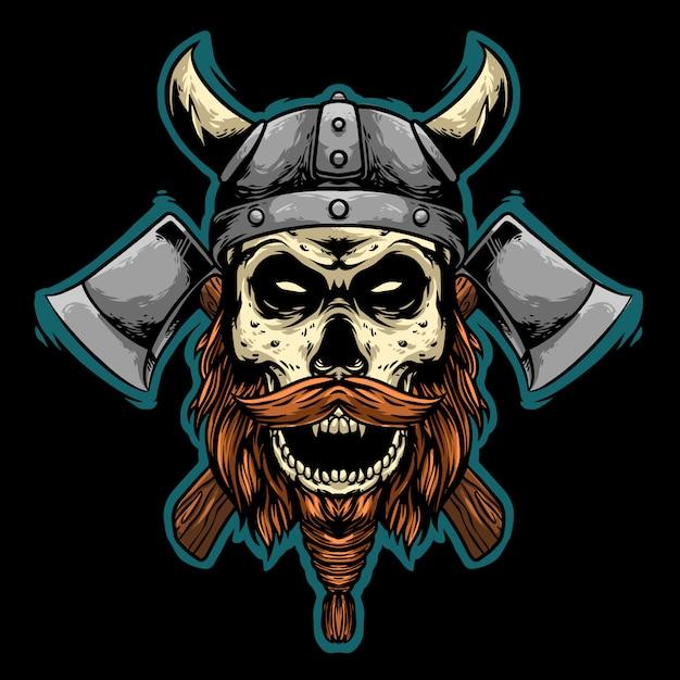 Cráneo vikingo con hacha mascota diseño ilustración logo Vector Premium