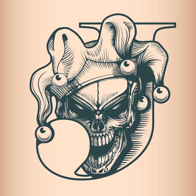 Craneo Vintage Joker Estilo De Tatuaje Dibujado A Mano Monocromo