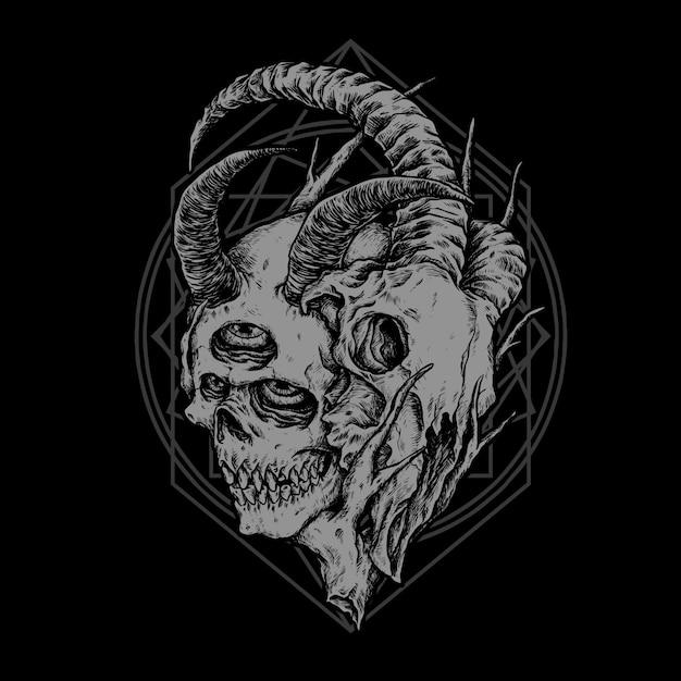 Cráneo Vector Premium