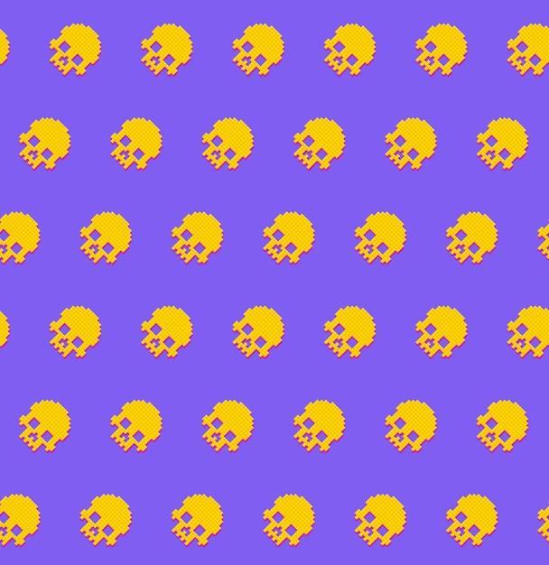 Cráneos humanos sin patrón 8bit estilo retro. Vector Premium