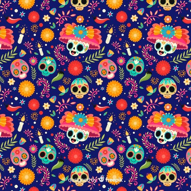Cráneos con sombreros florales de patrones sin fisuras vector gratuito