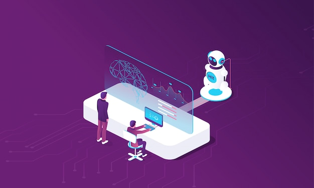 Creación de inteligencia artificial. Vector Premium