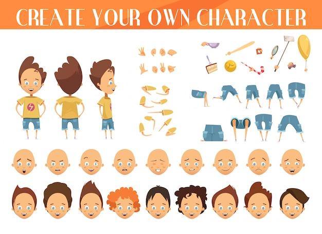 Creación de un personaje de dibujos animados para niños con cortes de cabello, emociones, posiciones de las piernas. vector gratuito