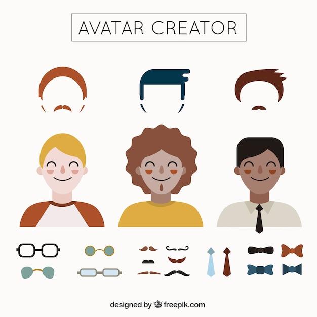 Creador de avatares de hombres vector gratuito