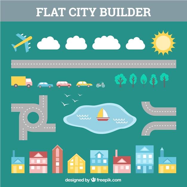 Creador De Ciudades Estilo Plano Descargar Vectores Gratis