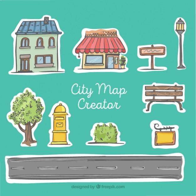 Creador de mapa de la ciudad, estilo dibujado a mano vector gratuito