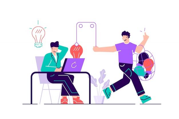 Creador sentado en el escritorio y trabajando y plagio o pirata robando sus ideas, contenido y resultados de trabajo. Vector Premium