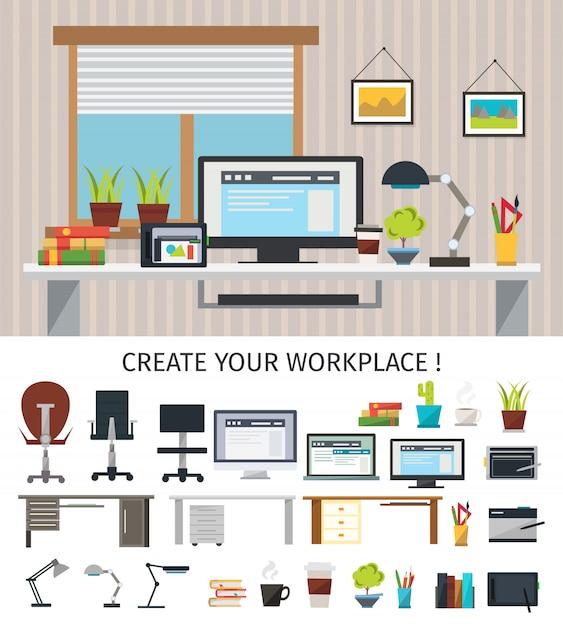 Crear concepto de lugar de trabajo interior vector gratuito