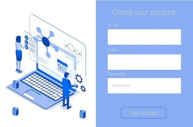 Crear cuenta en línea registrarse empresa página de destino Vector Premium