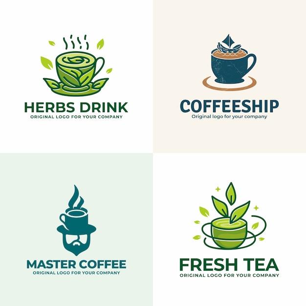 Creativa colección única de logotipos de bebidas. Vector Premium