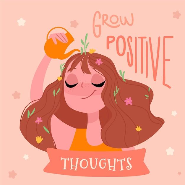 Crecer pensamientos positivos letras de amor propio vector gratuito