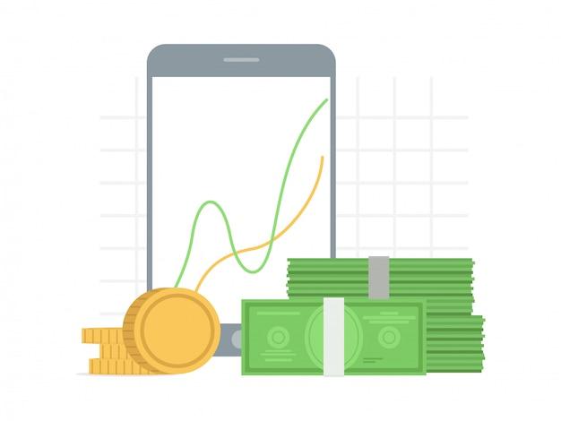 Crecimiento, concepto de éxito en estilo plano con gráfico de gráfico en la pantalla del gadget y dinero Vector Premium