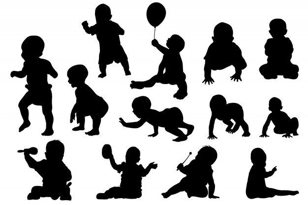 Crecimiento De Bebé Y Juego Conjunto De Silueta