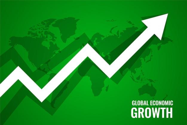 Crecimiento económico global flecha hacia arriba fondo verde vector gratuito