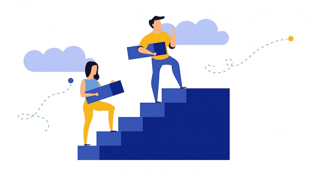 Crecimiento empresarial, hombre y mujer en las escaleras Vector Premium