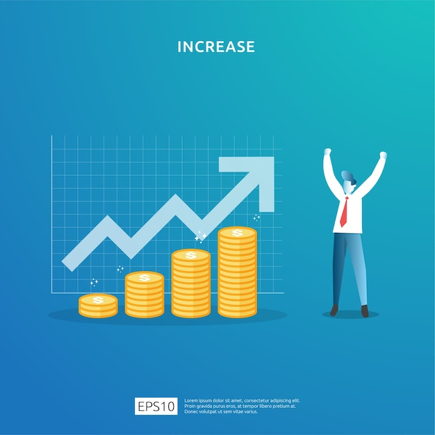 El crecimiento de las ganancias comerciales, la venta aumenta los ingresos del margen con el símbolo del dólar. ilustración de concepto de aumento de tasa de salario de ingresos con carácter de personas y flecha. rendimiento financiero del retorno de la inversión roi Vector Premium