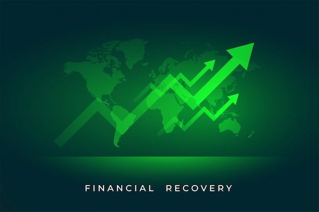 Crecimiento del mercado de valores de la economía de la recuperación financiera vector gratuito