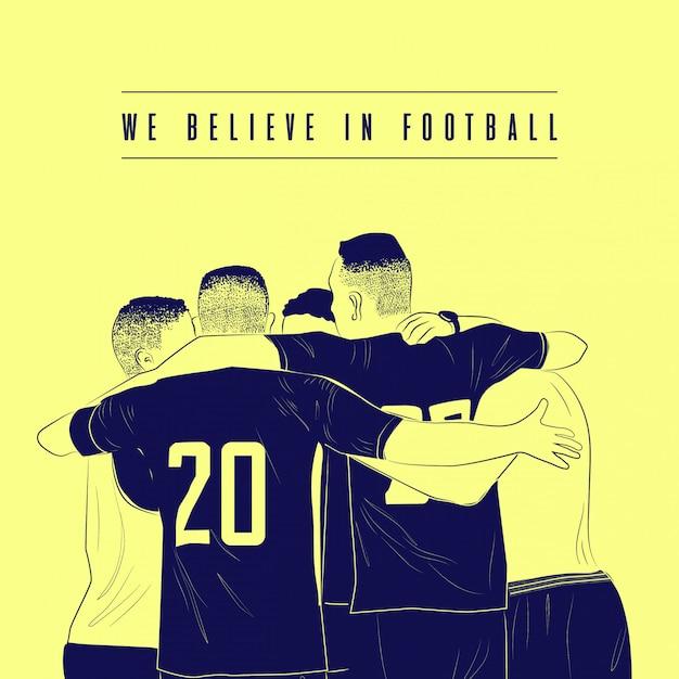 Creemos en la ilustración de fútbol Vector Premium
