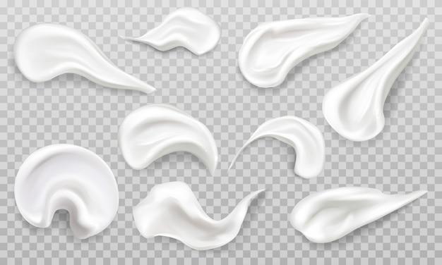 Crema blanca frotis swatch set. cosméticos belleza productos para el cuidado de la piel trazos. vector gratuito