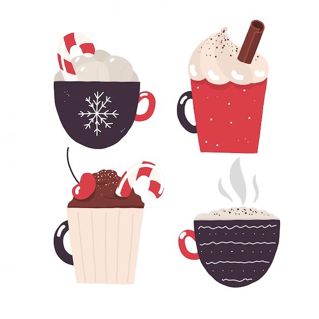 Crema de chocolate caliente de invierno y navidad cacao.eps Vector Premium