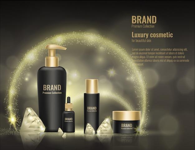 Crema cosmética realista plantilla producto paquete oro 3d diamante publicidad ilustración. Vector Premium