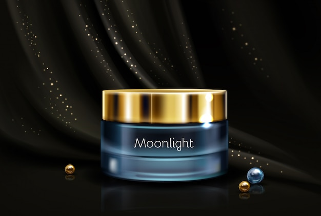 Crema hidratante cosmética nocturna. vector gratuito