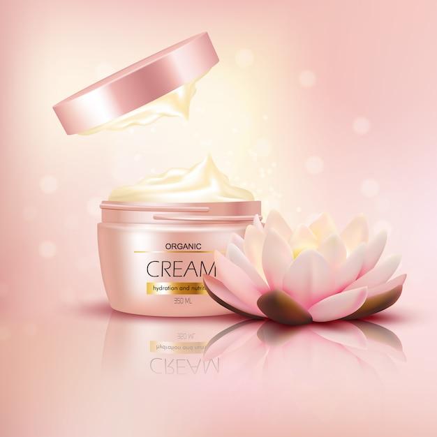 Crema orgánica con flor de loto vector gratuito