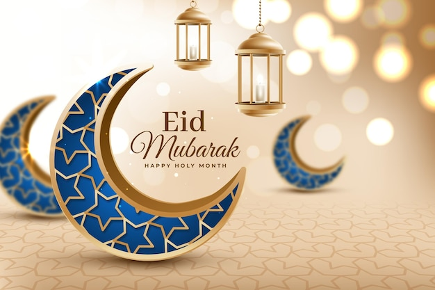 Crescent blue lunas realista eid mubarak vector gratuito