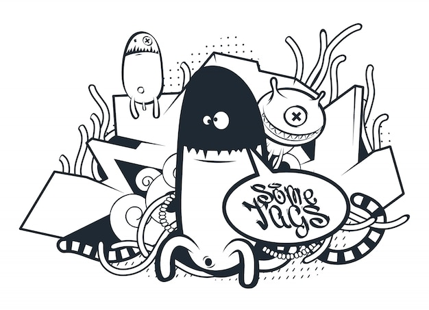 Criaturas dibujadas a mano en estilo graffiti vector gratuito
