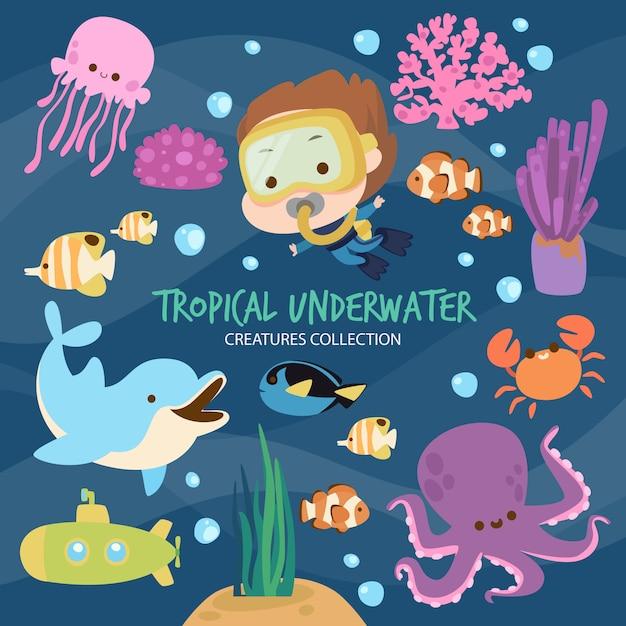 Criaturas submarinas tropicales Vector Premium