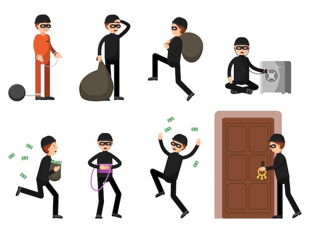 Criminales personajes de theif en diferentes acciones. Vector Premium