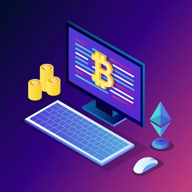 Criptomoneda y blockchain. minería de bitcoins. pago digital con dinero virtual, finanzas. computadora isométrica, computadora portátil con moneda, token. Vector Premium