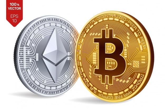 Criptomoneda monedas de oro y plata con bitcoin y ethereum símbolo aislado sobre fondo blanco. vector gratuito