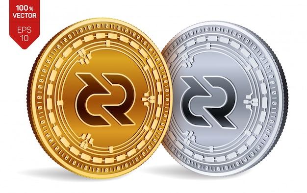 Criptomoneda monedas de oro y plata con símbolo decred aislado sobre fondo blanco. vector gratuito