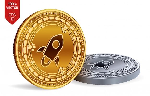 Criptomoneda monedas de oro y plata con el símbolo estelar aislado sobre fondo blanco. vector gratuito