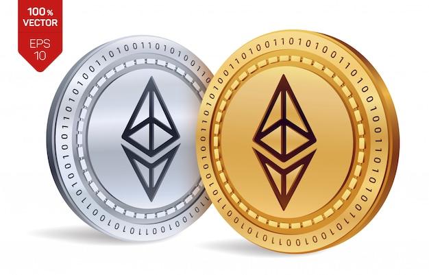 Criptomoneda monedas de oro y plata con el símbolo ethereum aislado sobre fondo blanco. vector gratuito