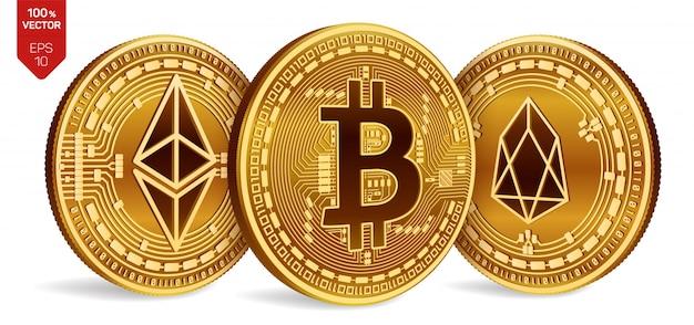 Criptomonedas monedas de oro con el símbolo de bitcoin, eos y ethereum sobre fondo blanco. vector gratuito