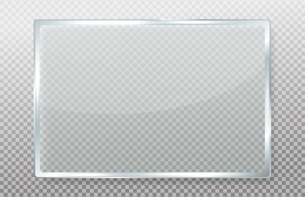 Cristal transparente con reflejos realistas. Vector Premium
