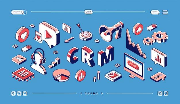 Crm, gestión de la relación con el cliente web banner isométrico. vector gratuito