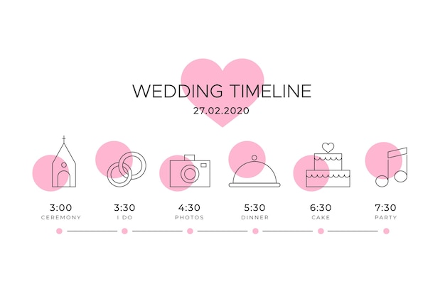 Cronología de la boda con motivo de corazón rosa vector gratuito
