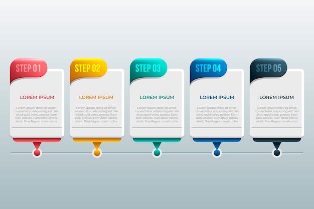 Cronología del diseño infográfico Vector Premium