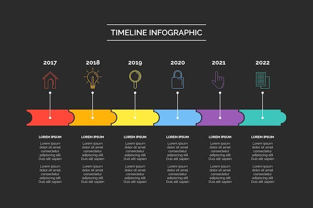 Cronología empresarial infografía vector gratuito