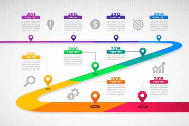 Cronología gradiente infografía vector gratuito