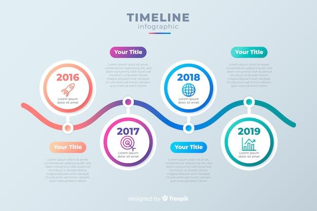 Cronología de infografía empresarial vector gratuito