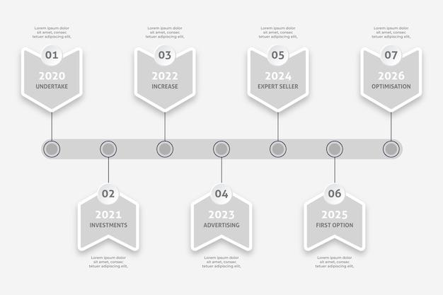 Cronología minimalista infografía vector gratuito