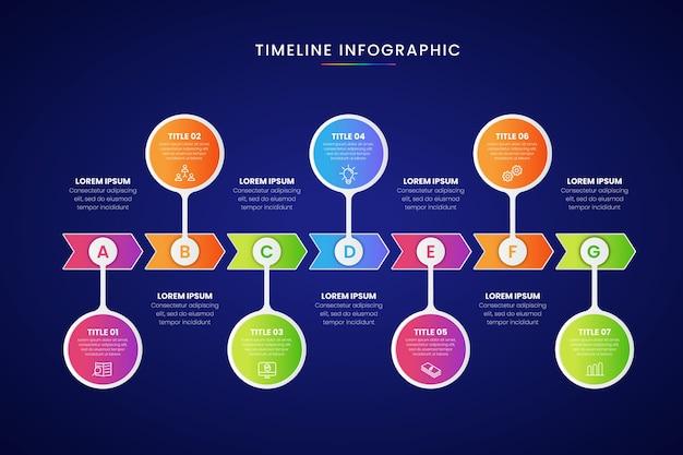 Cronología de negocios gradiente de infografía vector gratuito