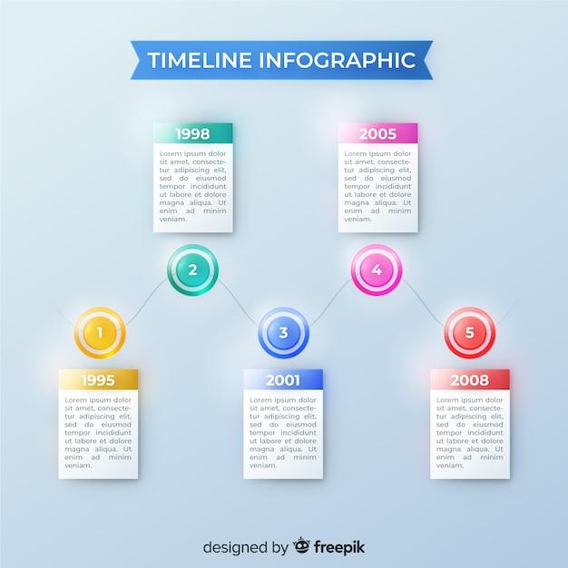 Cronología realista brillante infografía vector gratuito