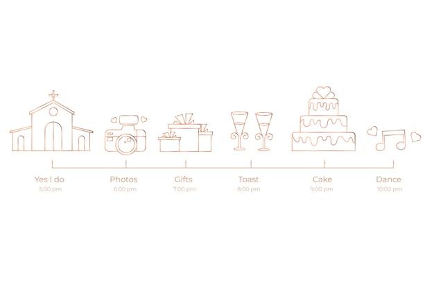Cronología simplista de bodas vector gratuito